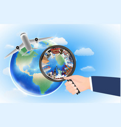world landmark in magnifying glass with airplane vector image