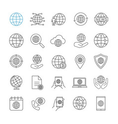 worldwide linear icons set vector image