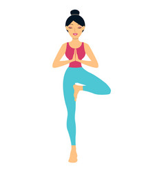 young woman doing yoga exercise tree-pose vector image