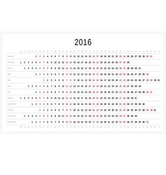 Calendar 2016 vector image vector image
