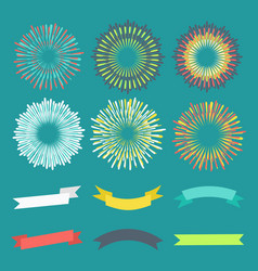 colorful anniversary banners and fireworks vector image