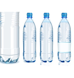 Four Water Plastic Bottles with Generic Label vector image vector image