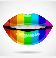 rainbow lips vector image vector image