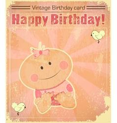 Retro Baby Girl Birthday Card vector image vector image