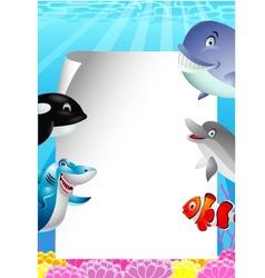 Sea life cartoon with blank sign vector image
