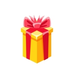 Yellow With Red Bow Gift Box With Present vector image vector image