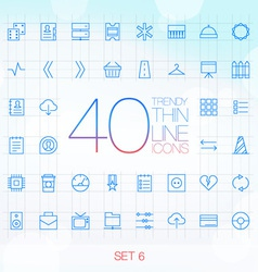 40 Trendy Thin Icons for web and mobile Set 6 vector image vector image