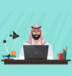 arab muslim businessman or programmer sitting at vector image vector image