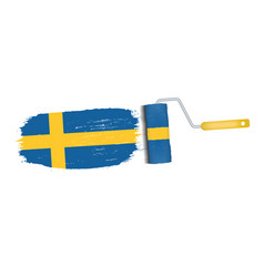 brush stroke with sweden national flag isolated on vector image vector image