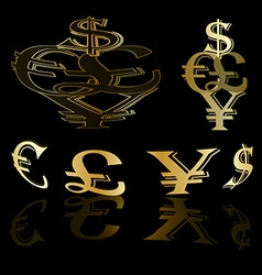 Currency gold background vector image