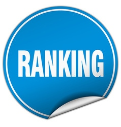 Ranking round blue sticker isolated on white vector