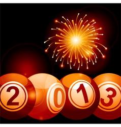 2013 bingo lottery balls and firework vector image vector image