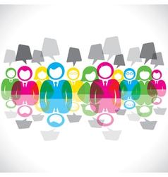 color businessmen meeting message bubble vector image vector image