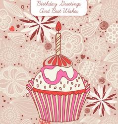 Cupcake Birthday Card vector image vector image