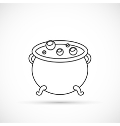 Witch cauldron outline icon vector image vector image