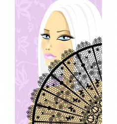 beautiful girl with fan vector image vector image