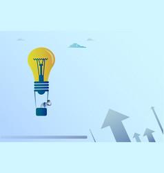 business man flying on light bulb air balloon vector image