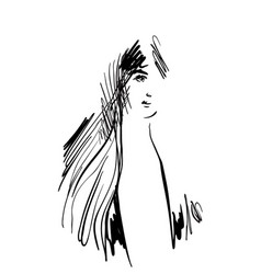 hand drawn cartoon face vector image