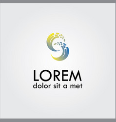 letter c pixel logo vector image vector image
