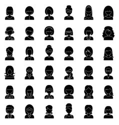Set of outline people icons vector image