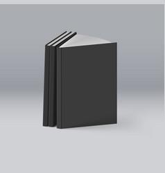 Stack of black books on deep background mockup vector
