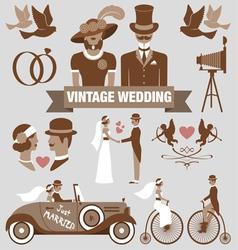 Vintage wedding set vector