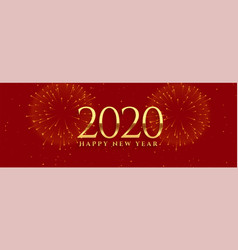 2020 red new year banner with firework design vector