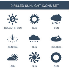 9 sunlight icons vector image