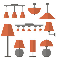 a set different lamps shine interior vector image