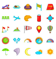 airborne icons set cartoon style vector image