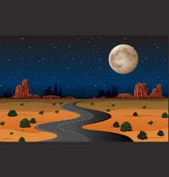 Arizona desert road at night vector