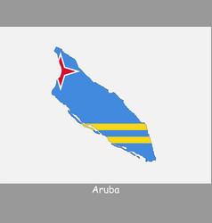Aruba map flag vector