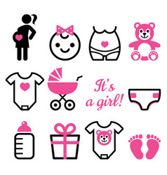 baby girl shower icons set pregnant woman vector image