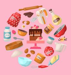 baking cartoon tools and food seamless pattern vector image