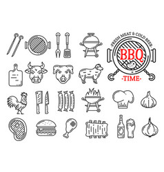 barbecue meat and sausages grill bar line icons vector image