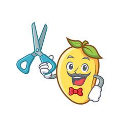 Barber mango character cartoon mascot vector