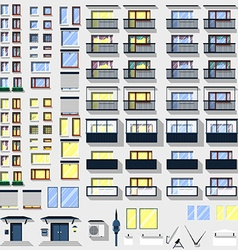 Big set windows balconies and other for building vector image