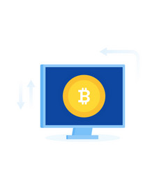 Bitcoin coin on computer screen vector