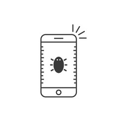 black thin line phone with bug vector image