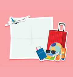 blank note with travel object vector image
