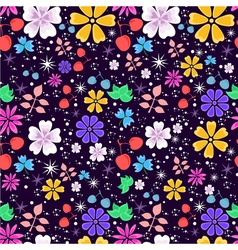 bright and funny seamless floral pattern on dark vector image