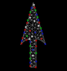 Bright mesh 2d arrow axis y with light spots vector