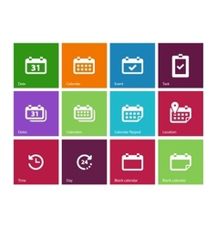 Calendar icons on color background vector image