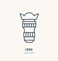 camera lens objective flat line icon photography vector image