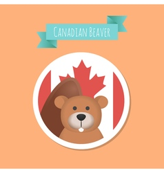 Canadian Cute Beaver Sticker vector