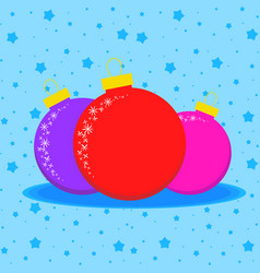 card with three colored christmas balls on a blue vector image