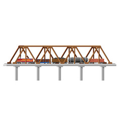 Cargo train on bridge vector