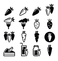 Carrot meals - cake juice icons vector