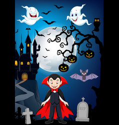 cartoon vampire with halloween background vector image