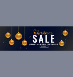 christmas sale banner with golden balls vector image